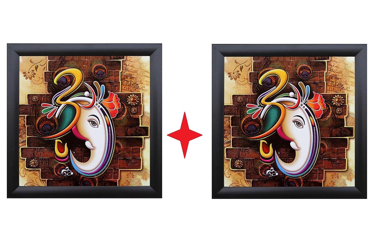 SAF 'Ganesha' Framed Painting (Wood, 12 Inch X 12 Inch) Pack Of 2