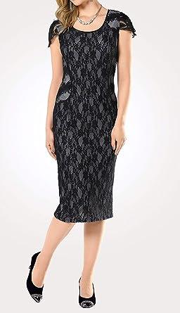 Markowa sukienka z koronką i kontrastową podszewką, czarna, rozm. 40-42 0919092064 - etui 40: Odzież