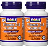 NOW Foods Vitamin D3 5000 Iu, 240-softgels (Pack of 2)