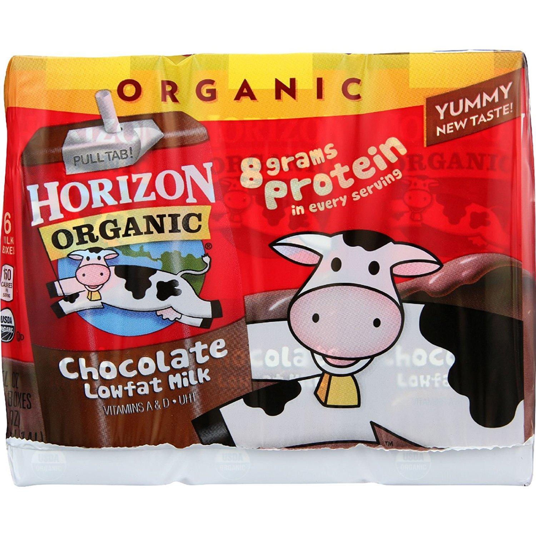 Horizon Organic Chocolate Lowfat Dairy Milk - Organic - 8g Protein in Every Serving - Box - 6/8 oz - Case of 3
