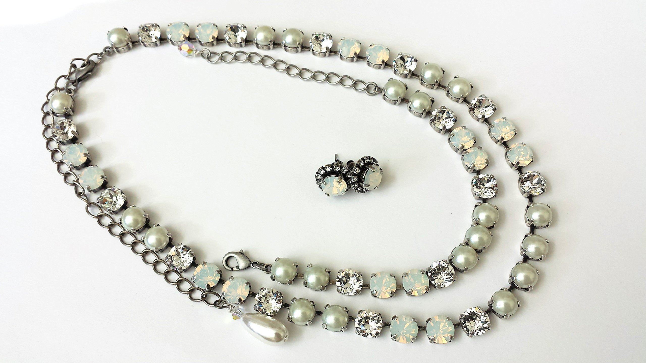 Swarovski Crystal Pearl and Opal Jewelry Bridals Elegant Necklace Bracelet and Earrings Set