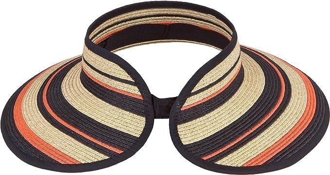 fa7983bb08a3e Karen Keith Paper Braid Wide Brim Roll Up Sun Visor Hat (Free