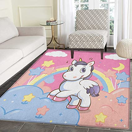 Amazon Com Teen Girls Rugs For Bedroom Unicorn With Rainbow And
