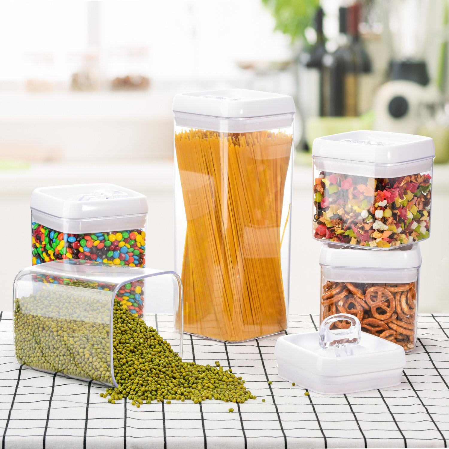 ME.FAN Large Air-Tight Food Storage Container Set [5-Piece Set] - Pantry Durable Seal Pot - Cereal Storage Containers - For Dry Foods & Liquids - BPA Free - Clear Containers with White Lids