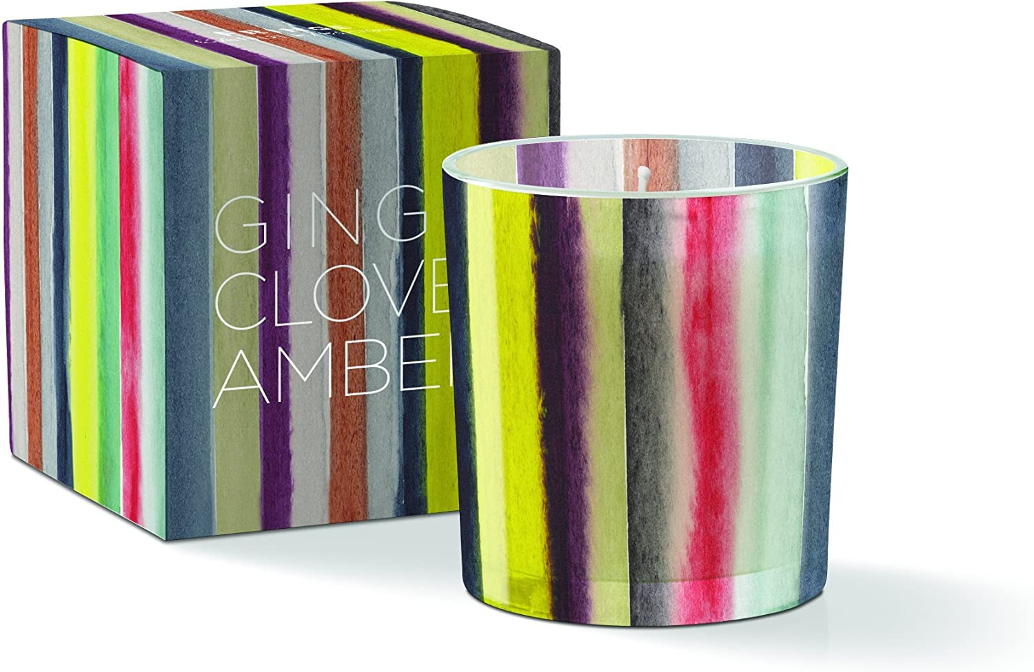 Fringe Studio WS Forest Stripe Round May Candle, Ginger Rosewood Scent, 20+ Hours Burn Time (556151)