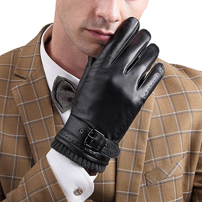 eae96a38fa0d9 Mens Winter Gloves Touchscreen Leather Gloves Warm Lined Driving Gloves  Black