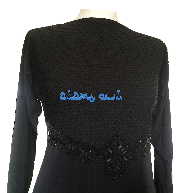 Gorgeous Islamic Abaya with Black Stone Work - One Size Fits 10-18 - Jilbab Batwing Kaftan Dress