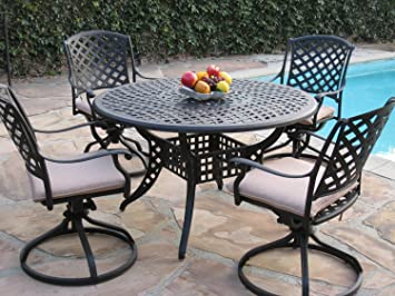 Kawaii Collection Cast Aluminum Outdoor Patio Furniture 5 Piece Dining Set  With 4 Swivel Rockers MLV120T