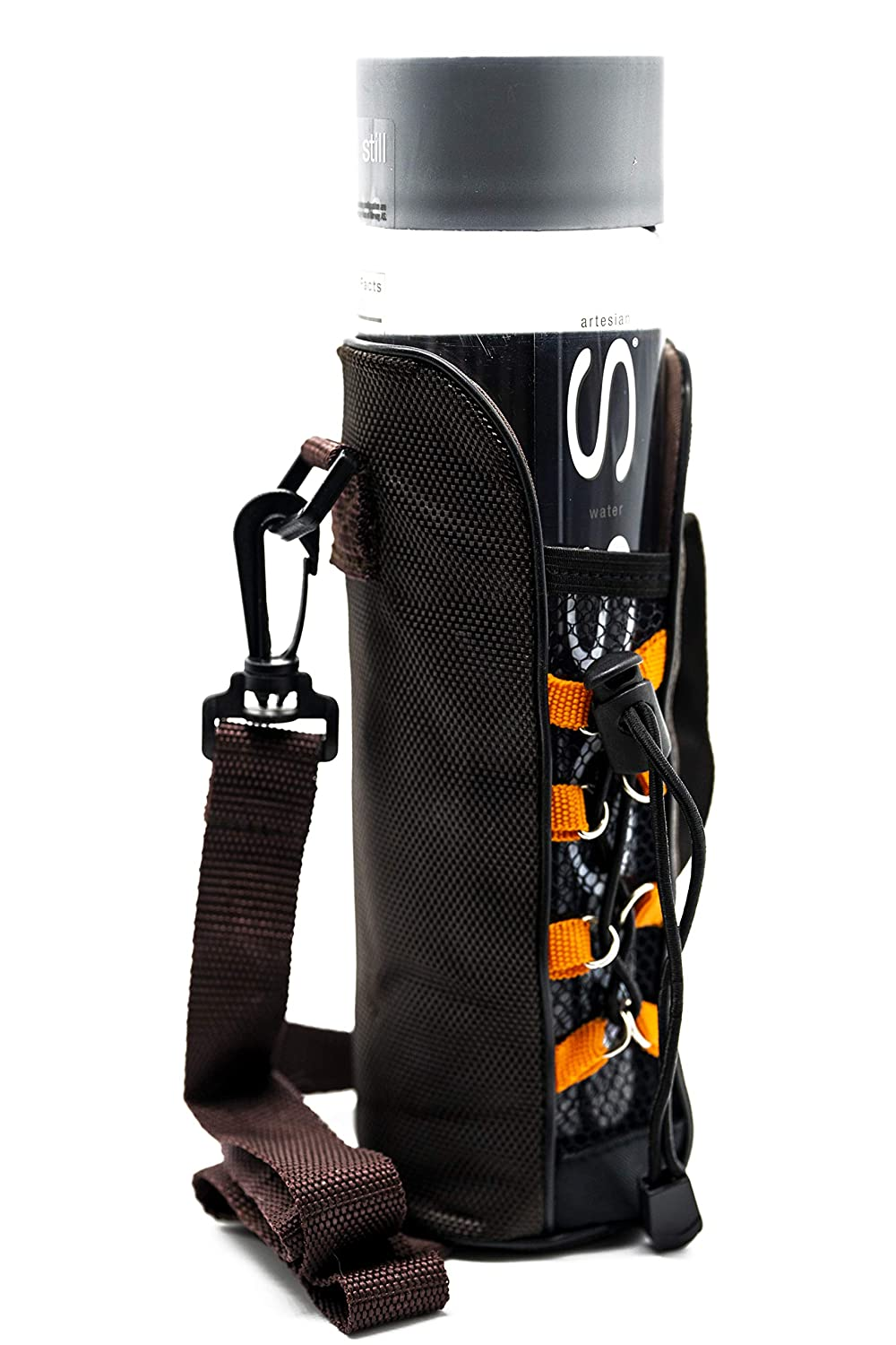 Stylish Light Brown Design with Drawstrings Camping Comfortable Water Bottle Carrier Sleeve with Shoulder Strap |Use with Stainless Steel Glass and Tall Sizes Great for Walking Hiking Outdoors RiLo
