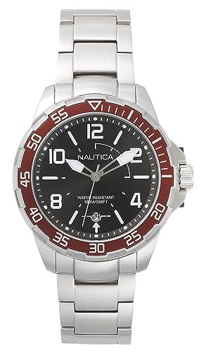 9fbea90d0f29 Nautica Reloj Analogico para Hombre de Cuarzo con Correa en Acero  Inoxidable NAPPLH005  Amazon.es  Relojes