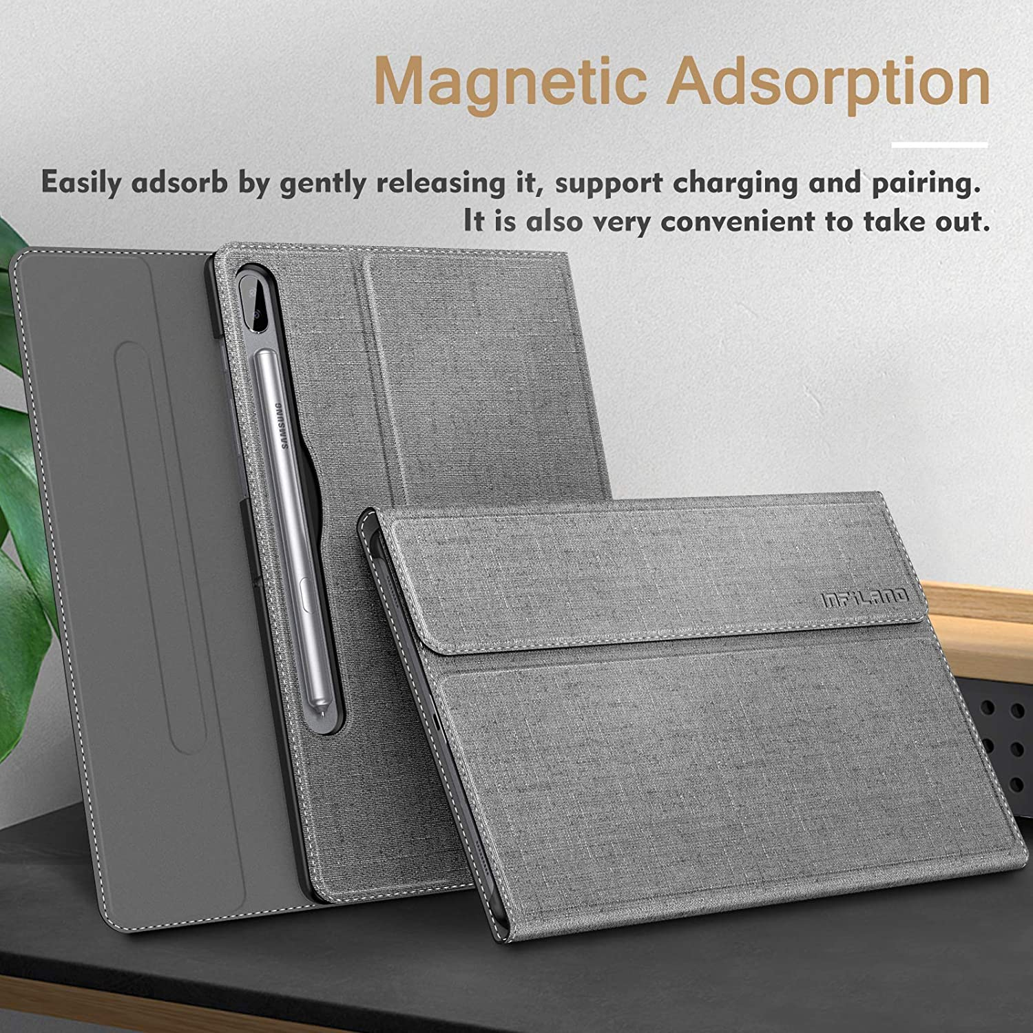 Multiple Angle Stand Case Fit Samsung Galaxy Tab S6 10.5 Inch Model SM-T860//T865//T867 2019 Release Auto Wake//Sleep Infiland Galaxy Tab S6 10.5 Case Gray Support S Pen Wirelss Charging