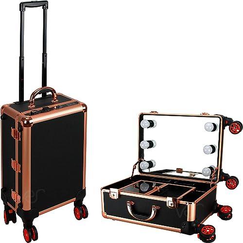 Ver Beauty Makeup Studio Workstation 4 Detachable Wheels Rolling Led Lights Artist Portable Mirror