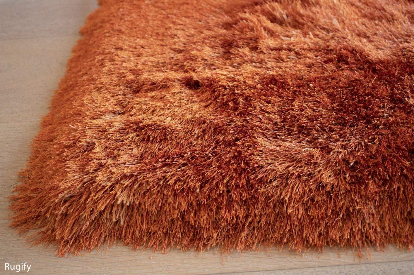 8×10 Feet Rust Orange Dark Orange Color Shag Plush Shaggy Fuzzy Furry Pattern Area Rug Carpet Rug Hand-Woven Shimmer Cozy Contemporary Modern Comfortable Soft Living Room Bedroom Decorative Designer Carpet