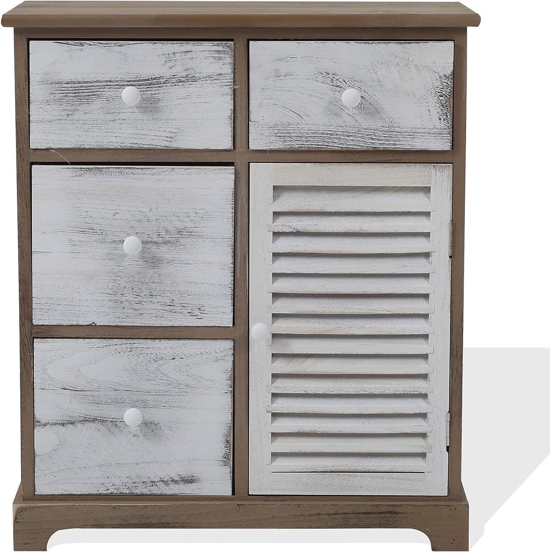 Rebecca Mobili Cómoda Vintage, gabinete Blanco Gris marrón, 4 cajones 1 Puerta, Madera, Muebles Entrada Dormitorio - Medidas: 70 x 60 x 30 cm (AxANxF) - Art. RE6074