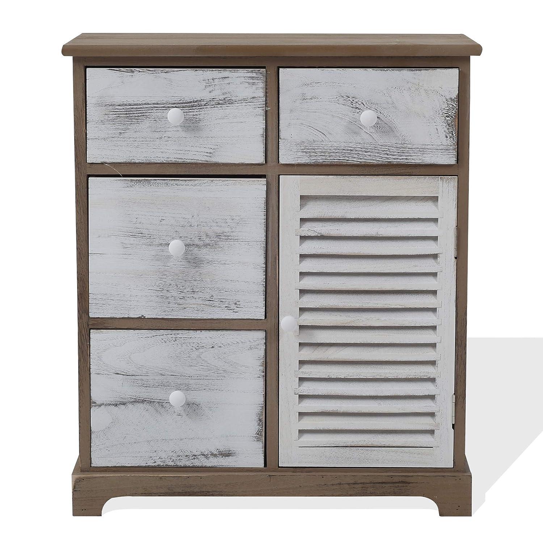 Rebecca Mobili RE6074 Cómoda Vintage, gabinete Blanco Gris marrón, 4 cajones 1 Puerta, Madera, Muebles Entrada Dormitorio, 70 x 60 x 30 cm (AxANxF)