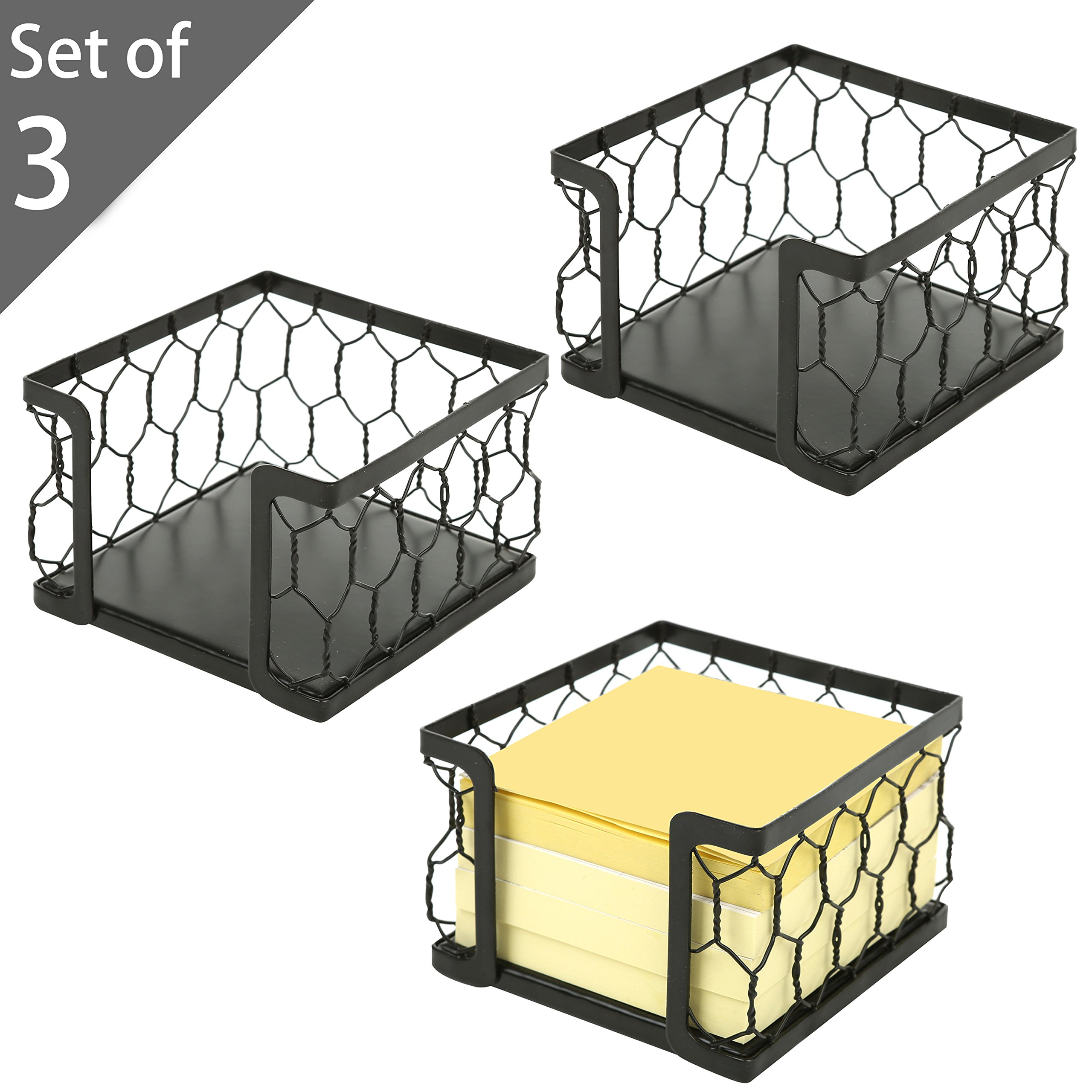3 X 3 Metal Chicken Wire Mesh Sticky Note Dispensers, Office Memo Pad Holder with Black Matte Finish, Set of 3