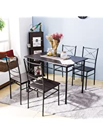 Harper Bright Design 5 Pcs Dining Table Set Dining Set Dining Furniture  Wood And Metal Home
