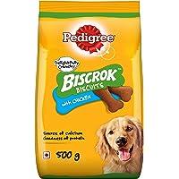 Pedigree Biscrok Biscuits Dog Treats (Above 4 Months), Chicken Flavor, 500g Pack