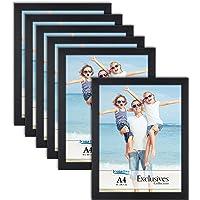 Icona Bay A4 Document Frames (Black, 6 Pack) Sturdy Wood Composite Certificate Frames, Sleek Diploma Frames Bulk, Table…