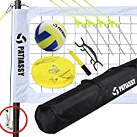 Patiassy Professional Portable Volleyball Sets for Backyards, Beach, Outdoor - Volleyball Net and Ball Set System with Winch System for Anti Sag Net and Adjustable Poles