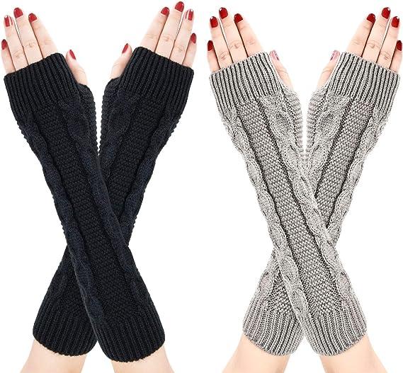 Damen Fingerlos Handschuhe Halb F/äustlinge f/ür Winter Schwarz// Grau 2 Paar W/ärmer Strick Kurzer Gestrickte Fingerlose Armstulpen mit Daumenloch