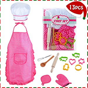 HmiL-U Chef Set for Kids - 13 Pcs Kids Cooking and Baking Set Includes Kids Apron, Chef Hat, Utensils, Cooking Mitt for Kids Chef Role Play Set , Gift for 3 Year Old Girls and up