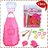 HmiL-U Chef Set for Kids - 13 Pcs Kids Cooking and Baking Set Includes Kids Apron, Chef Hat, Utensils, Cooking Mitt for Kids Chef Role Play Set , Gift for 3 Year Old Girls and up …
