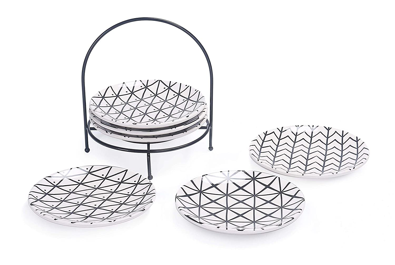 Snacks Bico Linear Black and White 6 inch Ceramic Appetizer Plate with Rack for Salad Appetizer Plates Microwave /& Dishwasher Safe Set of 7