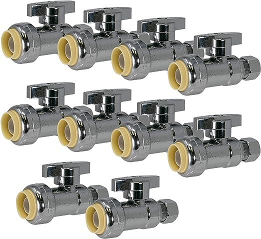 Quarter Turn  5//8 od x 3//8 od Push Fit Water Supply Line Shut Off Valve