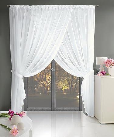 Fantastisch Gardine Kräuselband 400x250 Cm Pola Weiß Wohnzimmer Transparent Weich  Fallendes Material