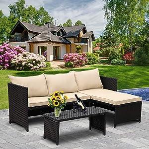 Valita 3-Piece Outdoor PE Rattan Furniture Set Patio Wicker Conversation Loveseat Sofa Sectional Couch Khaki Cushion