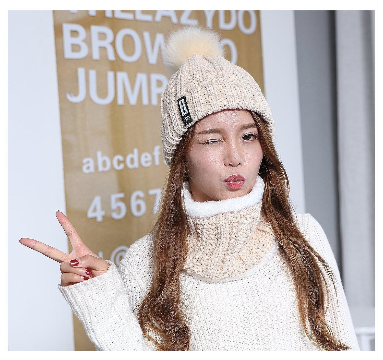 823e50e70cc Amazon.com  Jelinda Women Winter Fleece Lined Cable Knitted Pom Pom Beanie  Hat Loop Scarf Set  Clothing