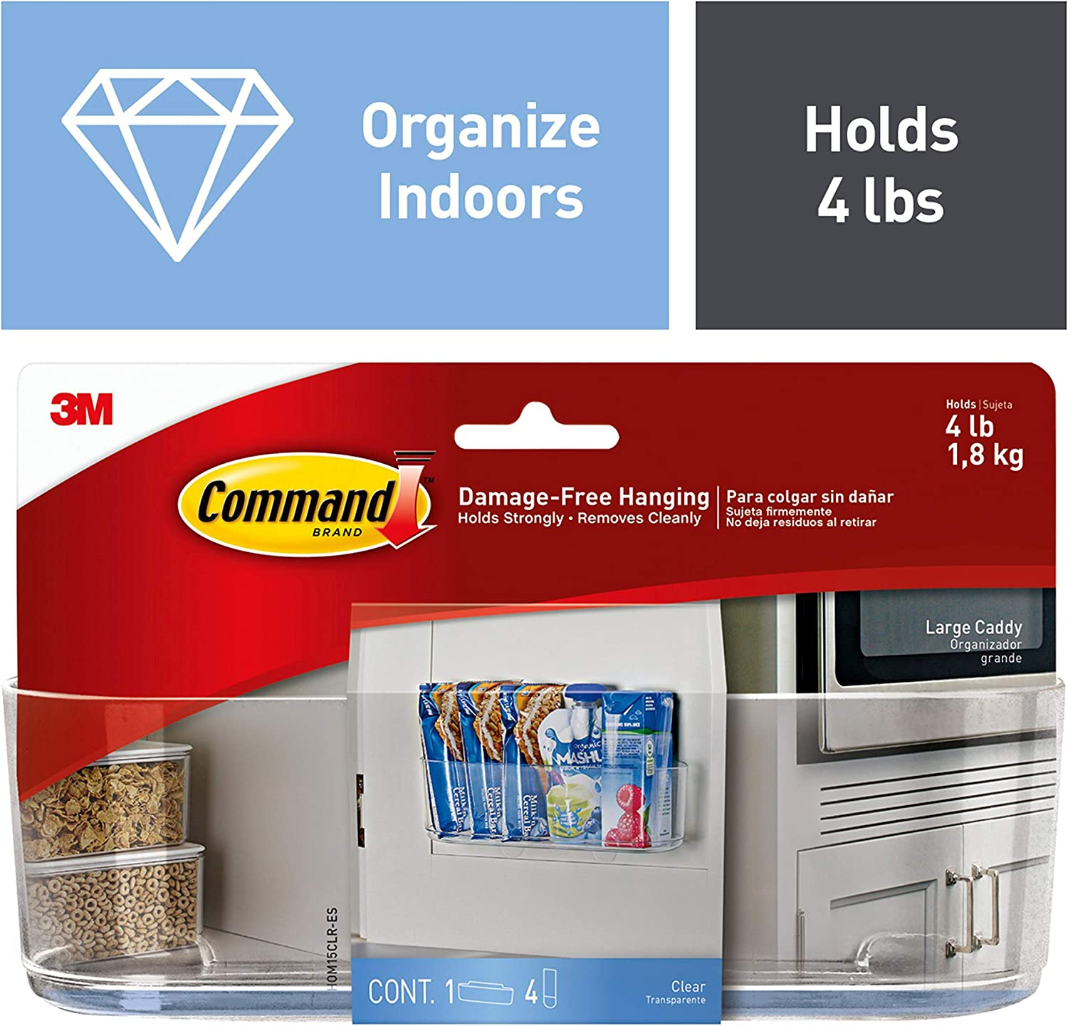 Command Large Caddy, Clear, Organize your dorm - Kitchen Storage And Organization Product Sets -