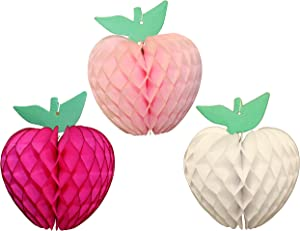 7 Inch Honeycomb Tissue Paper Apple Decoration, Set of 3 (Cerise, Light Pink, White)