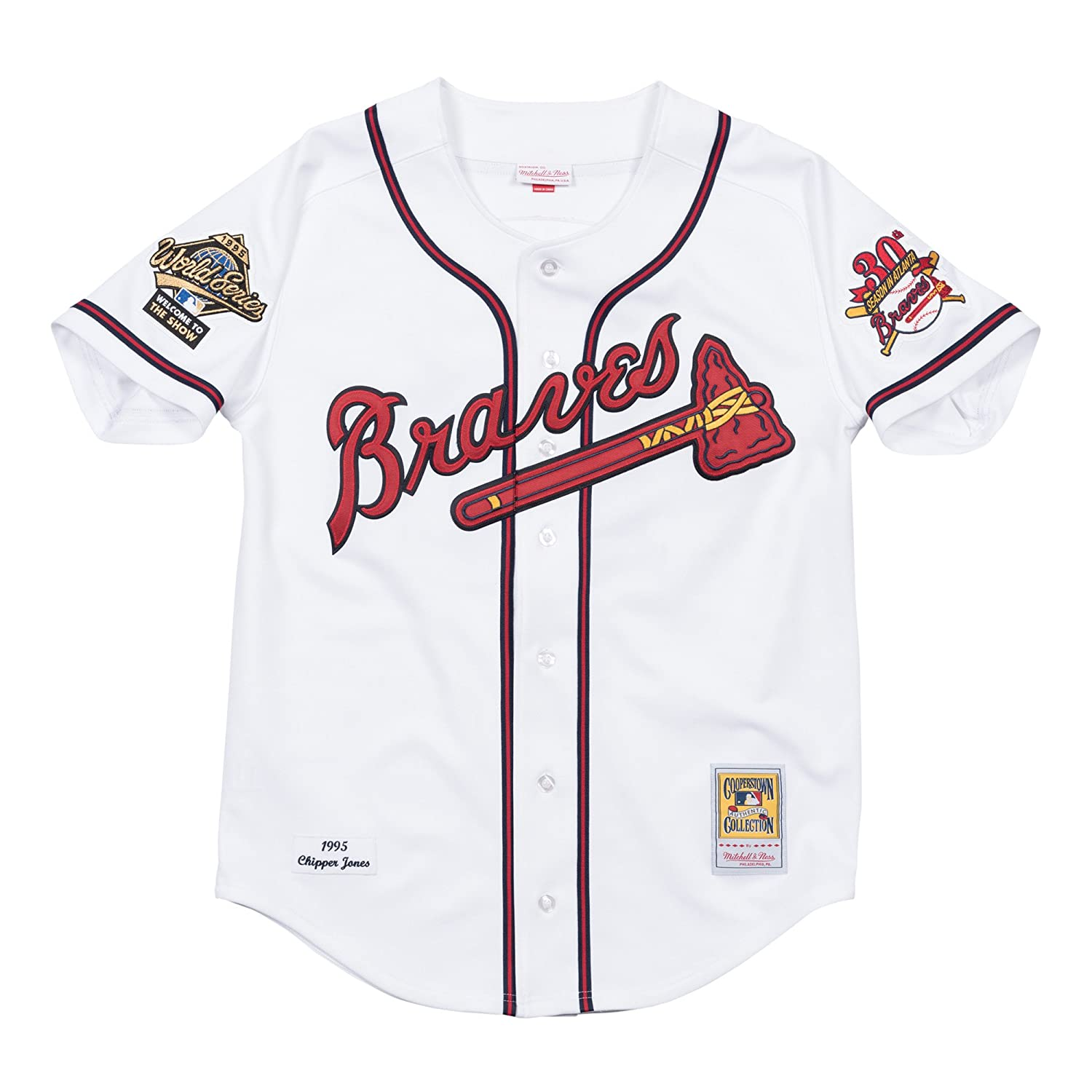 brand new 6527f 3dfe2 Mitchell & Ness Chipper Jones Atlanta Braves MLB Authentic 1995 Home WS  Jersey