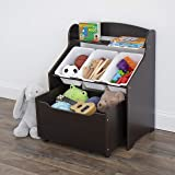 Humble Crew Toddler-Size Storage Unit with Rolling Toy Box, Espresso
