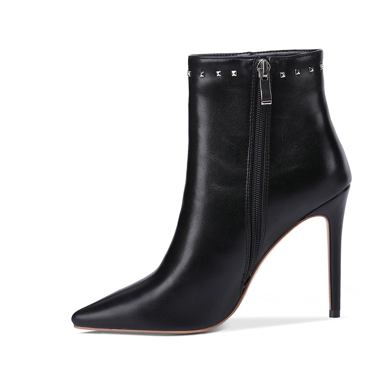 onlymaker Pointed Toe Studded Rivet Ankle Boots for High Women Side Zipper Dress High for Heels Booties Black B078YPCRFG 9 B(M) US|Y-black 5dfcbf