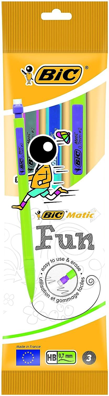 BIC Matic Fun - Paquete de 10 portaminas con mina HB de 0.7 mm, colores varios: Amazon.es: Oficina y papelería