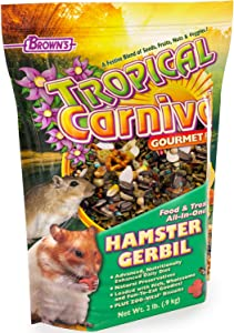 F.M. Brown's Tropical Carnival Gourmet Hamster and Gerbil Food with Fruits, Veggies, Seeds, and Grains, Vitamin-Nutrient Fortified Daily Diet - 2lb