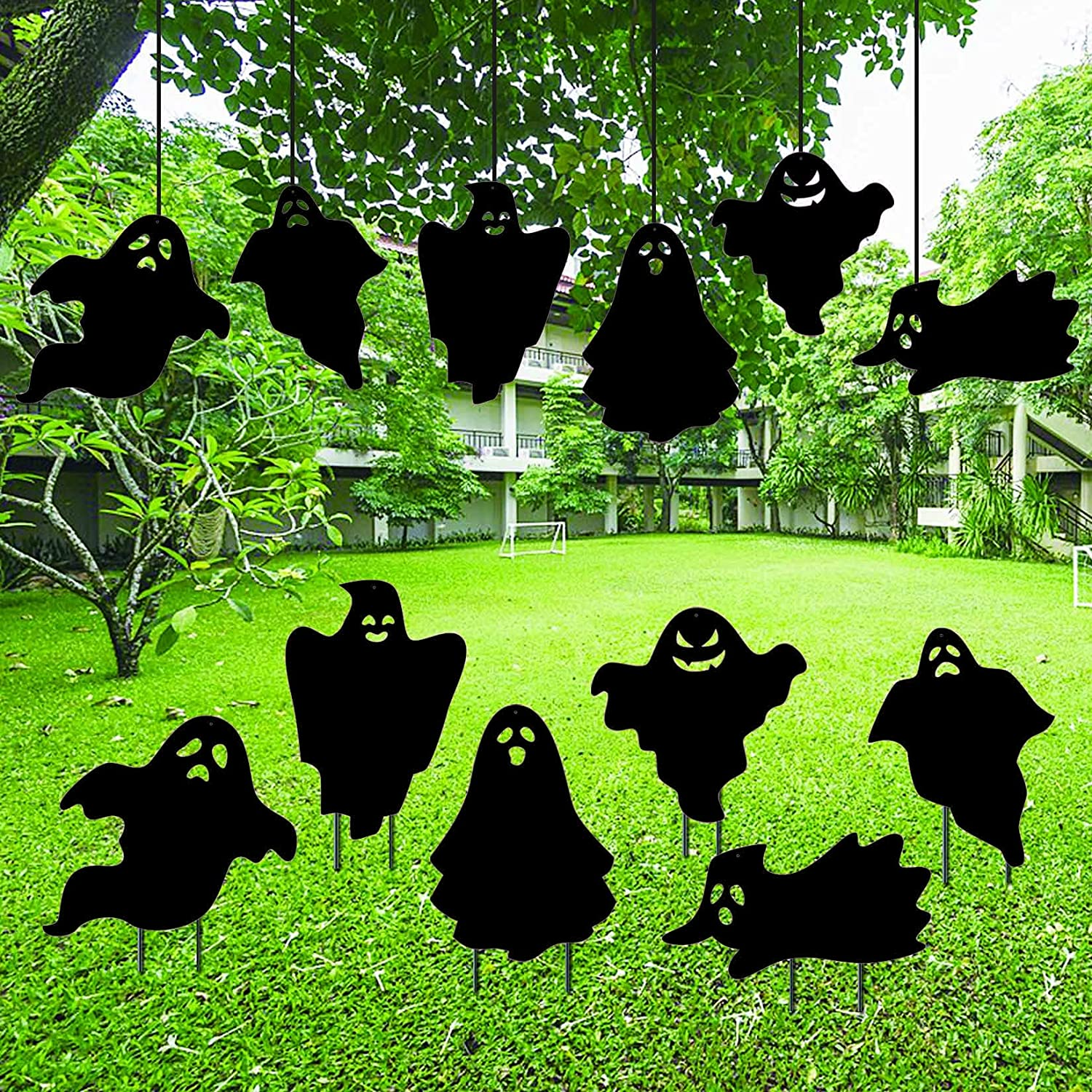 Halloween Ghost Yard Decorations,Outdoor Halloween Party Decorations,6Pcs Halloween Party Yard Signs for Haunted Houses,Halloween Ghost Weatherproof Black Plastic Yard Stake,Spooky Party Supplies.