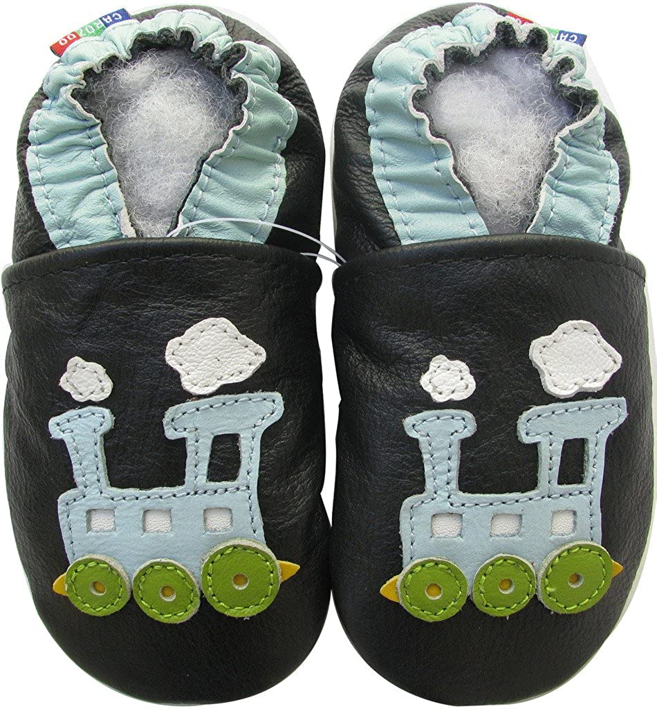Carozoo Train Blue Black C2 Baby Boy Soft Sole Leather Shoes