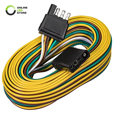 4 Pin Flat Trailer Wiring Harness Kit [Wishbone-Style] [SAE J1128 Rated] [25' Male & 4' Female] [18 AWG Color Coded Wires] 4 Way Flat 5 Wire Harness For Utility Boat Trailer Lights Kits: Automotive