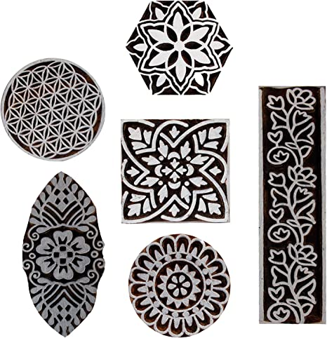Floral Motif Border Indian Printing Blocks Clay Scrapbook Stamp Print Henna Tattoo Wooden Block