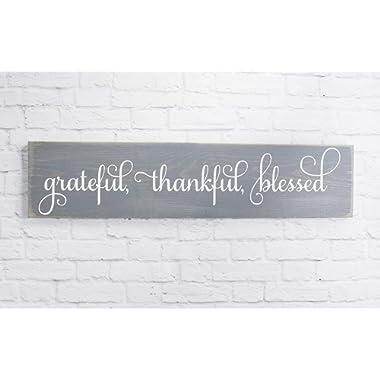 Gray Cursive Grateful Thankful Blessed Wooden Sign Rustic Handmade Decor -