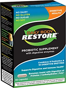 Daily Body Restore Probiotic Supplement with Digestive Enzymes, 30 Capsules
