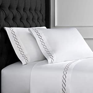 Melange Home Sateen Cotton Rope Embroidery Stripe Sheet Set, Queen, Grey on White