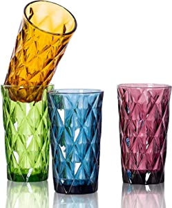 SUNNOW Vastto 13 Ounce Multicolor Diamond Pattern Glass Tumbler,for Water, Beverage,Juice, Wine,Beer, and Cocktail,Set of 4