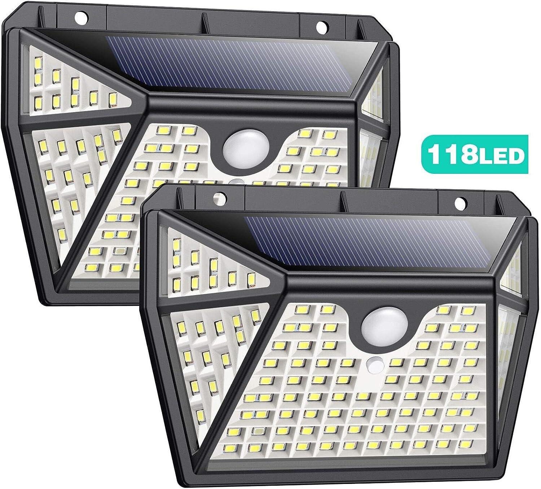 Luz Solar Exterior con Sensor de Movimiento【Iluminación Super Brillante por 5 Lados-118LED】Pxwaxpy Luces Led Solares para Exteriores 1200LM Foco Solar 2200mAh Impermeable Lámpara Solar Jardín 2Paquete