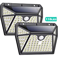 Luz Solar Exterior con Sensor de Movimiento【Iluminación Super Brillante por 5 Lados-118LED】Pxwaxpy Luces Led Solares…