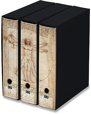Raccoglitori Per Ufficio Decorati.Kaos Set Da 3 Raccoglitori Ad Anelli Dorso 8 Uomo Di Vitruvio Leonardo Misure Set 26 8x35x29 Cm